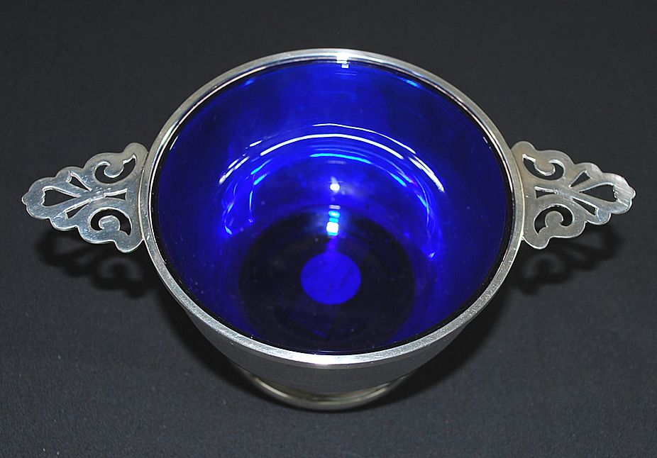 Antique Double Handle Sterling Silver Bowl with Cobalt Liner, S. Kirk & Son
