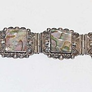 Sterling Silver Bracelet & Earrings, Abalone, Mexico, Vintage