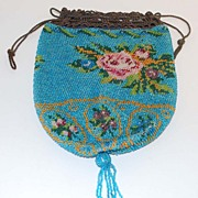 Victorian Floral Beaded Bag, Antique