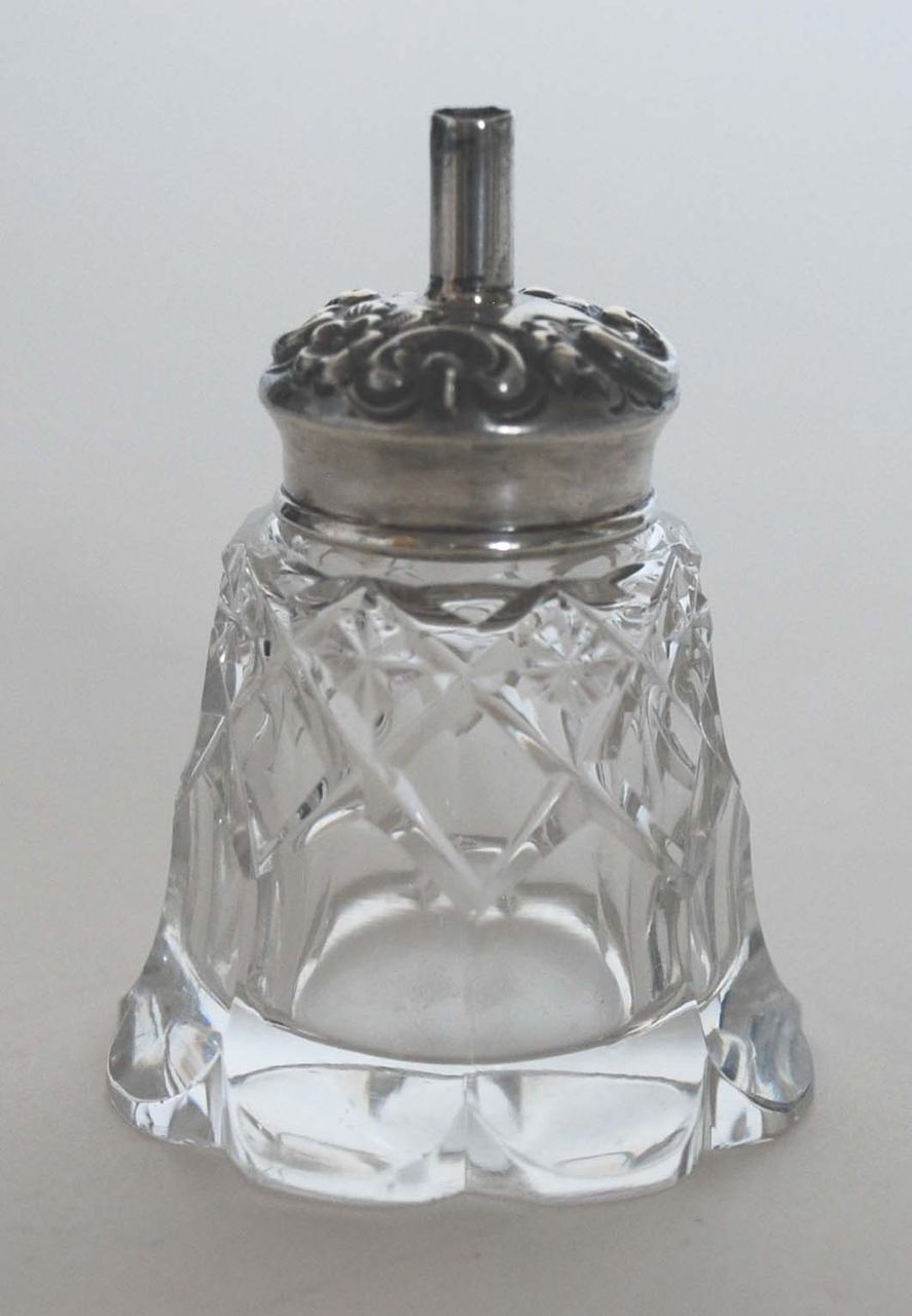 Antique Cut Glass Mucilage Jar with Sterling Silver Top
