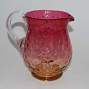 Antique Victorian Amberina Pitcher, Inverted Thumbprint