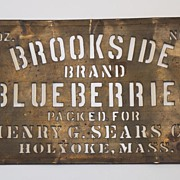 Antique Early Brass Advertising Stencil, Blueberries, Mass.