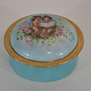 Antique Porcelain Hand Painted Storage Box, France