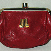 "SALE Retro ""Lanvin Paris"" Red Leather Gold Logo Coin Purse"