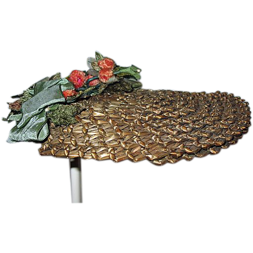 Gorgeous Antique French Doll Straw Hat