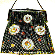 Dazzling Whiting Davis Silver-Gold-Floral Mesh Purse