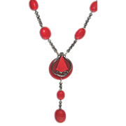 Modernist Chrome Red Galalith & Glass Bead Necklace