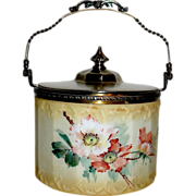 SALE Beautiful Mt. Washington Floral Decorated Biscuit Jar