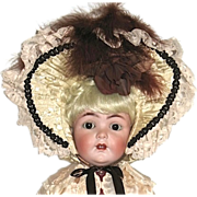 Extraordinary Silk, Satin & Feathered Bonnet for Large Doll