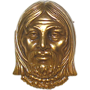 SALE Vintage Joseff of Hollywood Gilt Finished Face Brooch