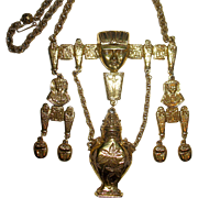SALE Amazing Egyptian Revival Designer Signed Symbolic Necklace--22 in.