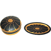 SALE Gorgeous DeVilbiss Black and Gold Art Deco Vanity Set