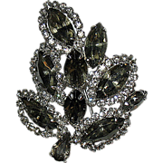 SALE Dazzling Weiss Signed Brooch--Rhodium w Gray and Clear Crystals