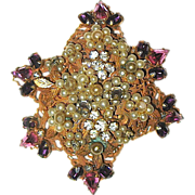 Original by Robert Pink, Purple Rhinestone & Seed Pearl Brooch