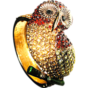 1/2 Off Dazzling Vintage Bejeweled Figural Owl Bangle