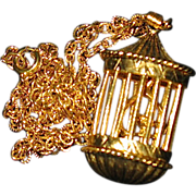 Quality Goldtone Solid Perfume Necklace -- Canaries in Pretty Cage