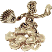 Florenza Marked Whimsical Winged Cherub Brooch