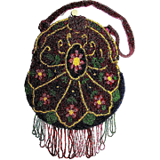 Gorgeous European Floral Designed Purse with Beaded Straps