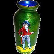 SALE 19th Century Miniature Copper Guilloche Enamel Portrait Vase for French Fashion Doll