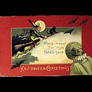 SOLD E.C. Banks, Saxony, Postcard--Pilgrim Halloween—free shipping