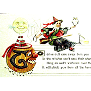 SOLD Nash Halloween Postcard--Witch, Halloween Symbols--free shipping