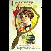 SOLD Pristine Postcard--Pretty Girl & Halloween Symbols—free shipping
