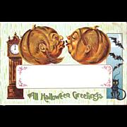 SOLD German Pumpkin Heads Romance Halloween Postcard--free shipping