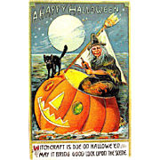 SOLD Rare ISL Halloween Postcard--Ugly Witch in JOL Sailboat