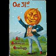 SOLD Great Mister Pumpkin Head German Halloween Postcard