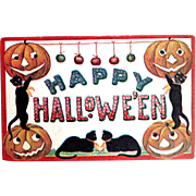 SOLD Happy Halloween Postcard--Black Cats Cavorting w JOLs