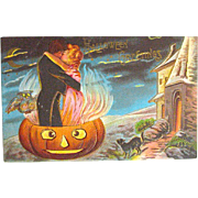 """SOLD Couple """"Fired Up"""" in Large Flaming JOL Halloween Postcard--free shipping"""