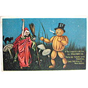SOLD Scary Witch Gives a Horrible Warning—Antique Halloween Postcard