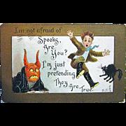 SOLD Artist Signed German Halloween Postcard