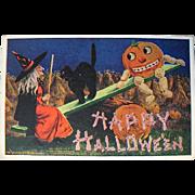 SOLD Delightful Fantasy Bernhardt Wall Artist Signed Halloween Postcard