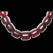 SALE Vintage Translucent Cherry Amber Barrel Shape Beaded Necklace--80 grams