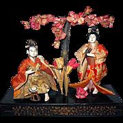 SALE Japanese Gofun Empress and Emperor Dolls, Meiji Period