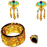 SOLD Elizabeth Tylor Egyptian Revival Parure with Boxes