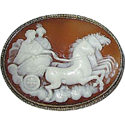 Carved Natural Shell Cameo Brooch—Mythological Figures