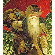 SOLD GEL Finished Christmas Postcard—Santa Claus w Umbrella—Heavy Gold