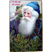 SOLD Antique German Gel Finished Christmas Postcard—Early Santa in Blue-Green Robe