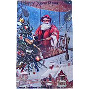 "SOLD Rare Valentines Published Christmas Postcard—""Father Christmas Up to Date"" in Blimp"