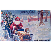 "SOLD Rare Valentines Published Christmas Postcard—""Father Christmas Up to Date"" in Auto"