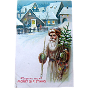 "SOLD International Christmas ""Carte Postale""—Old World Santa Claus in a Village"