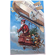 SOLD Old World Santa Claus Flying Zeppelin Christmas Postcard