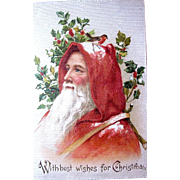 SOLD Stunning Graphics Early Santa Claus—German Christmas Postcard