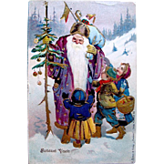SOLD Gorgeous Romanian Christmas Postcard—Old World Santa with Children—Heavy Gold