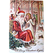 SOLD German Christmas Postcard—Early Santa Claus and Angel