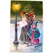 SOLD Early Undivided German Christmas Postcard—Santa Claus Reads List