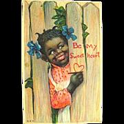 SALE HTF Antique Valentine Postcard--Pretty Girl--Black Americana