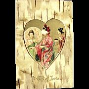 SALE Pristine Antique Undivided Valentine Postcard--Geishas in Gold Heart